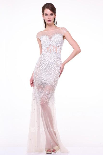 657d3f79834 Sheath Long Bateau Cap-Sleeve Tulle Deep-V Back Dress With Crystal Detailing  - UCenter Dress