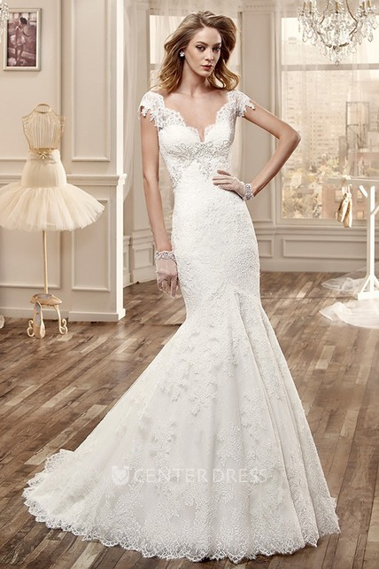 Mermaid Style Wedding Dress.Deep V Neck Lace Wedding Dress With Mermaid Style And Open Back