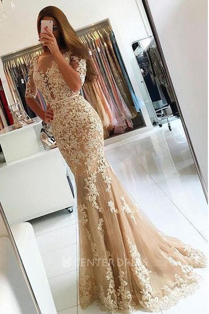 Mermaid Floor-length Half Sleeve Lace Appliques Dress