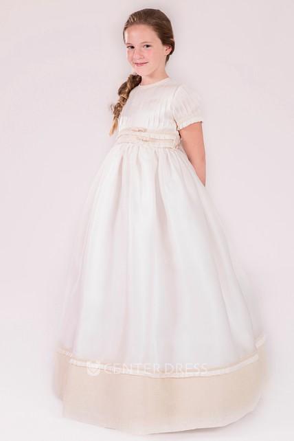 db44bd4e24d A-Line Pleated Short-Sleeve Floor-Length Jewel-Neck Satin Flower Girl Dress  - UCenter Dress