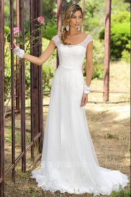 3f4d8414650b9 Sheath Cap-Sleeve Scoop-Neck Tulle Wedding Dress With Lace And Sweep Train  - UCenter Dress