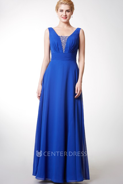 Deep-v Back Style Sleeveless Chiffon Gown With Beading