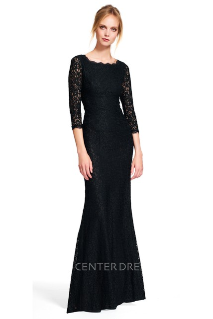 Sheath Floor-Length 3-4 Sleeve Bateau Neck Lace Bridesmaid Dress