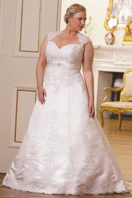 A Line Cap Sleeve Floor Length Sweetheart Lace Plus Size Wedding