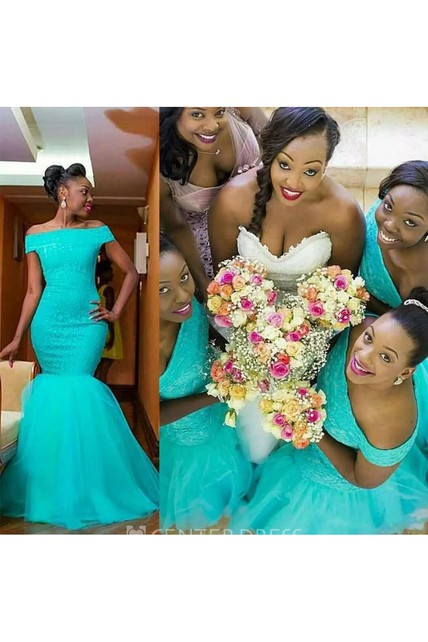 143004535405 Sleeveless Mermaid Off-the-shoulder Floor-length Lace Tulle Bridesmaid Dress  with Ruffles - UCenter Dress