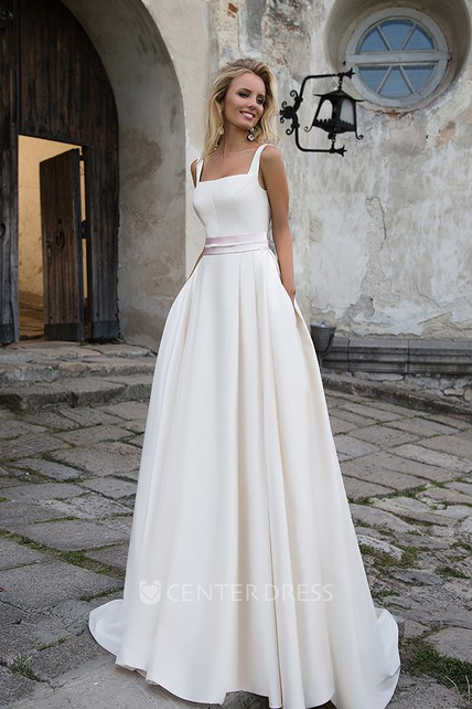 Simple Satin A-line Square-neck Sleeveless Wedding Dress