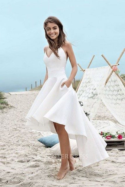 High-low Simple Beach Wedding Dress With Spaghetti Straps And Ruching