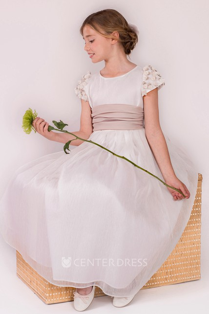 6d04a48e5 A-Line Floral Scoop-Neck Short-Sleeve Floor-Length Flower Girl Dress With  Pleats - UCenter Dress