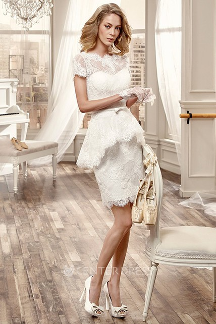 Illusive Short Lace Wedding Dress With T-Shirt Sleeve And Pleats