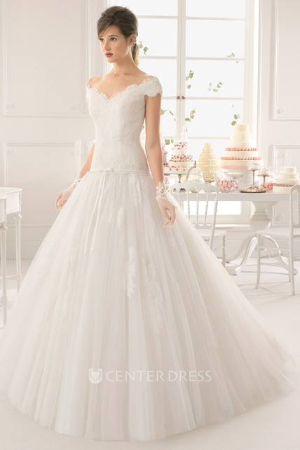 f5c21384de6 Ball Gown Off-The-Shoulder Cap-Sleeve Tulle Lace Wedding Dress - UCenter  Dress