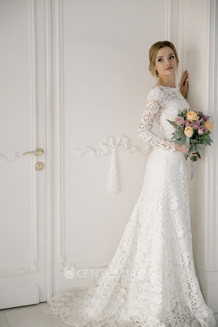 Lace Elegant Mermaid Bateau Wedding Dress With V-back