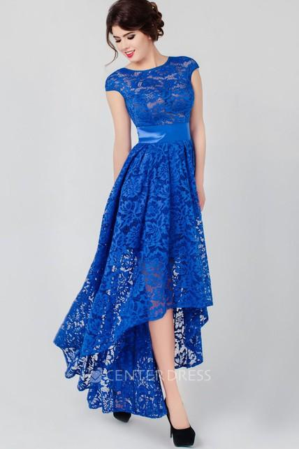 36d0677b725 A-line High-low High Neck Short Sleeve Lace Low-V Back Dress - UCenter Dress