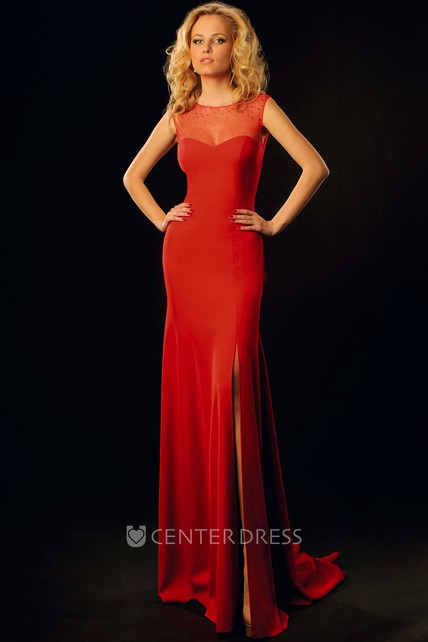 0b116cc6e45 Sheath Sleeveless Maxi Scoop Split-Front Jersey Prom Dress With Illusion  Back And Beading - UCenter Dress