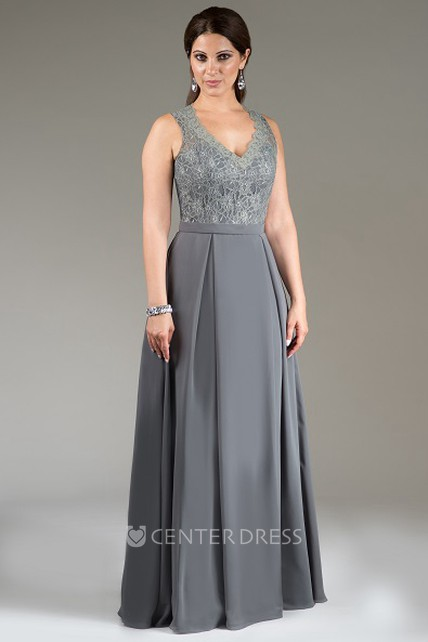 899a22ec369f5 Scalloped V Neck Lace Top Long Bridesmaid Dress With Back Hook And Keyhole  - UCenter Dress