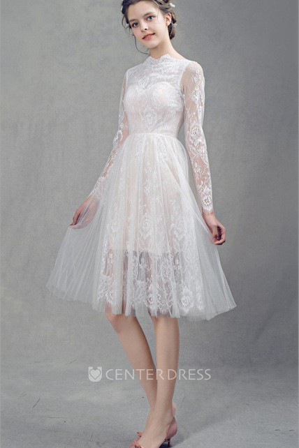 dcb94501d18 French Lace Short Tulle Wedding With Sleeves Dress - UCenter Dress