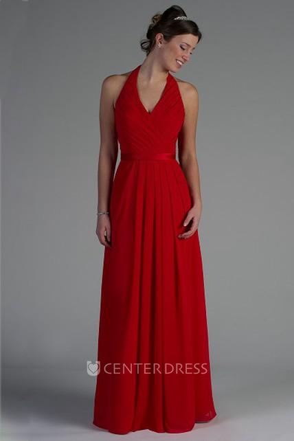 dc6a2a57a06d Halter Pleated A-Line Chiffon Long Bridesmaid Dress With Satin Sash -  UCenter Dress