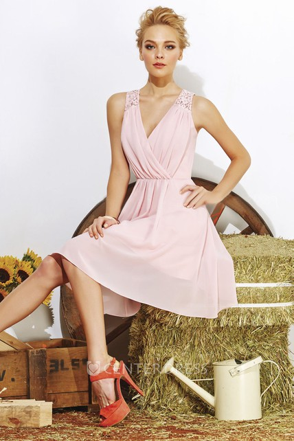 7d98f5aaa608b Sleeveless A-Line Short Bridesmaid Dress With V-Neck And Keyhole Back - UCenter  Dress