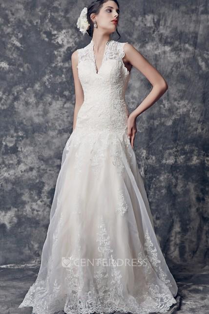 6c79e4092d9 Glamorous Cap Sleeve A-line Long Lace Wedding Dress With Keyhole - UCenter  Dress