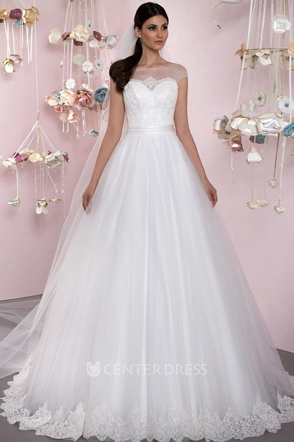 369c789fb Ball Gown Cap Sleeve Appliqued Bateau Neck Tulle Wedding Dress - UCenter  Dress