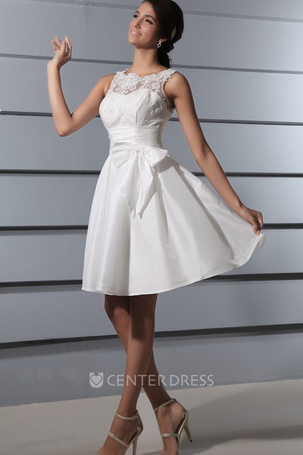 Brilliant V Back Deep Lace Dress With Sash And Bow