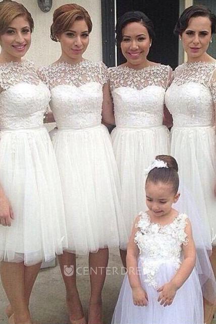 6c969577439 Romantic White Tulle Lace Bridesmaid Dress 2018 Short Sleeve - UCenter Dress
