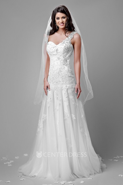 f75fc4e1083 One-Shoulder Lace And Tulle A-Line Wedding Dress With Dropped Waistline - UCenter  Dress