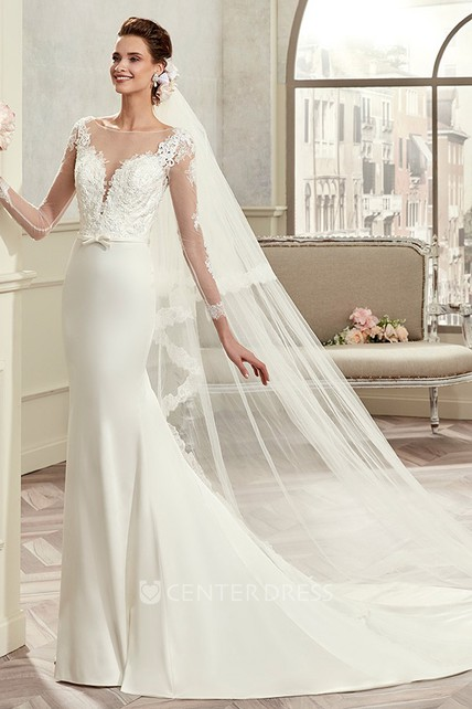 38490af16e88f Long-Sleeve Brush-Train Sheath Bridal Gown With Lace Bodice And Satin Skirt