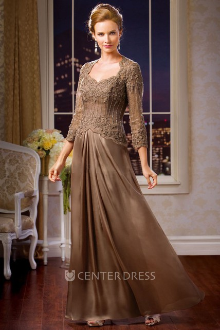 3-4 Sleeved Long Mother Of The Bride Dress With Keyhole Back And Beadings