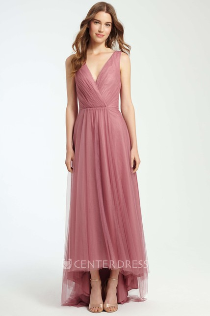 High-Low Ruched V-Neck Sleeveless Tulle Bridesmaid Dress