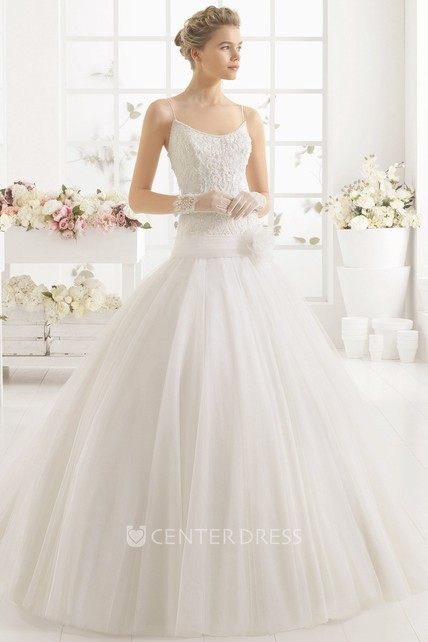 24d0be61be6 Ball Gown Sleeveless Beaded Floor-Length Spaghetti Tulle Wedding Dress With  Appliques - UCenter Dress