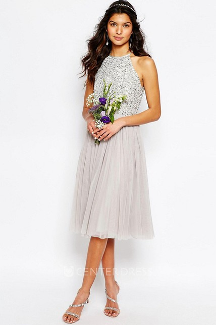 381c01d556 A-Line Tea-Length Scoop-Neck Sleeveless Sequined Tulle Bridesmaid Dress  With Pleats - UCenter Dress