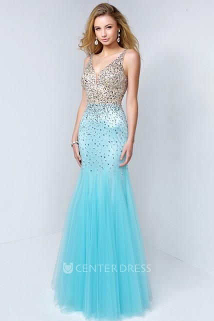 75d1ecaa64f Mermaid V-Neck Sleeveless Tulle Low-V Back Dress With Beading And Pleats -  UCenter Dress