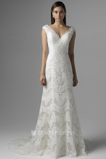 Sheath Sleeveless V-Neck Lace Wedding Dress With Deep-V Back ...
