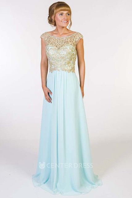 A-Line Beaded Scoop-Neck Cap-Sleeve Floor-Length Chiffon Prom Dress With Pleats