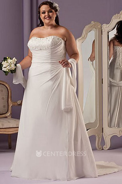 a08895a0418 Sweetheart A-Line Bridal Gown With Lace Up And Shawl - UCenter Dress