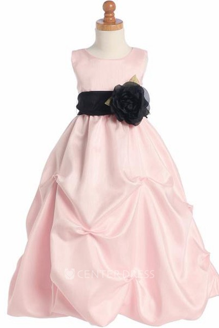 bb3590c85b7 Floral Ruched Floral Organza Flower Girl Dress With Sash - UCenter Dress