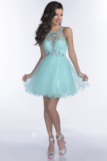 e30c475ab12 Mini Tulle A-Line Sleeveless Prom Dress With Crystal Detailing - UCenter  Dress