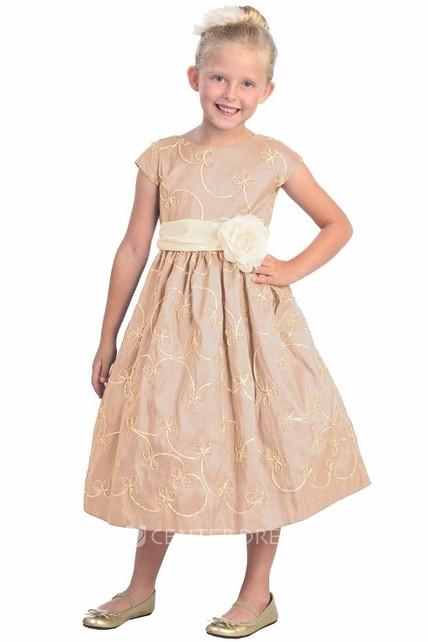 afb449fa12 Tea-Length Floral Cap-Sleeve Bowed Taffeta Flower Girl Dress With Embroidery  - UCenter Dress