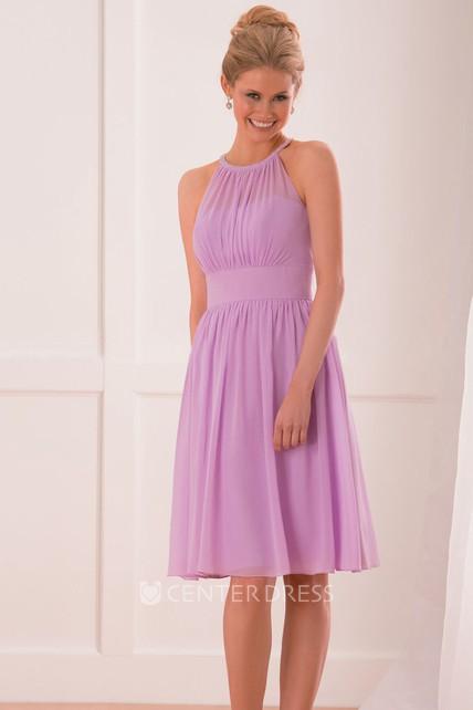 954e1584278 Jeweled High Neck A-Line Knee-Length Bridesmaid Dress With Pleats - UCenter  Dress