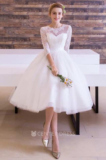 ec2948cefd069f Long Sleeve Jewel Neck Pleated Tea Length Lace Dress - UCenter Dress