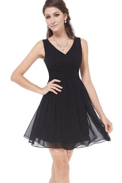 A Line Short Mini Chiffon Dress
