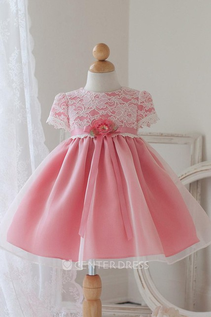 9ab6c4e45b Tea-Length Floral Bowed Lace Organza Flower Girl Dress With Ribbon -  UCenter Dress