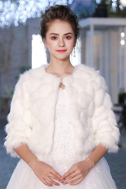 Bridal Wedding Long Sleeve Korean White Print Padded Warm Dress Fur