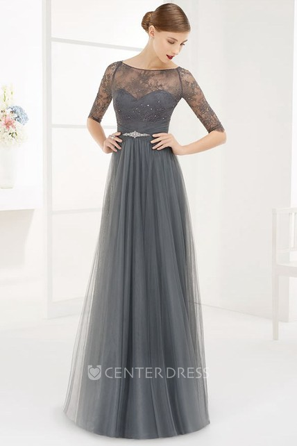 ed560f42b2f Bateau Half Sleeve Tulle Long Prom Dress With Lace Top And Crystal Waist -  UCenter Dress