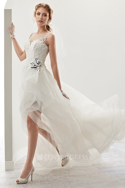 Cap sleeve High-low Bridal Gown with flower Embellishment and Ruffles