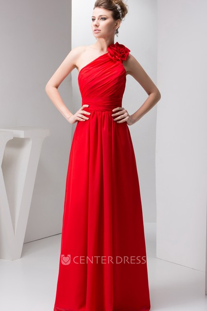 One-Shoulder Chiffon Maxi Dress with Ruching and Floral Epaulet