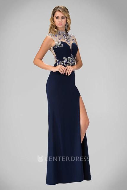 290169ce42 Sheath High Neck Sleeveless Jersey Keyhole Dress With Beading And Split  Front - UCenter Dress