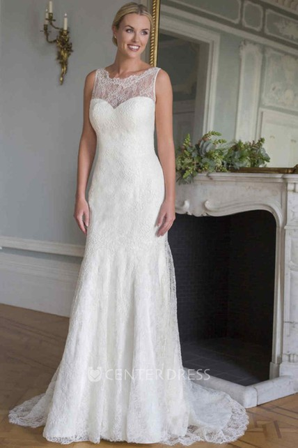 95f2be2e4d9d Sleeveless Scoop-Neck Lace Wedding Dress With Illusion - UCenter Dress
