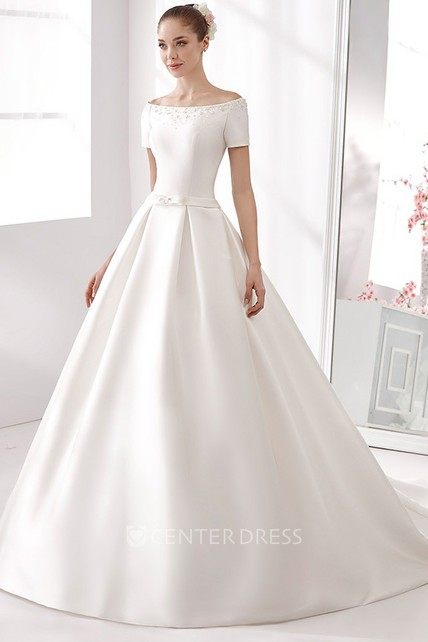 Off-Shoulder A-Line Satin Wedding Dress With Beaded Details And Little Bow Sash