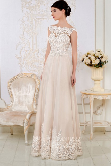 edbea536dd82 Sheath Maxi Appliqued Cap-Sleeve Bateau-Neck Lace Wedding Dress - UCenter  Dress